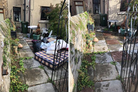 Rubbish removal before and after